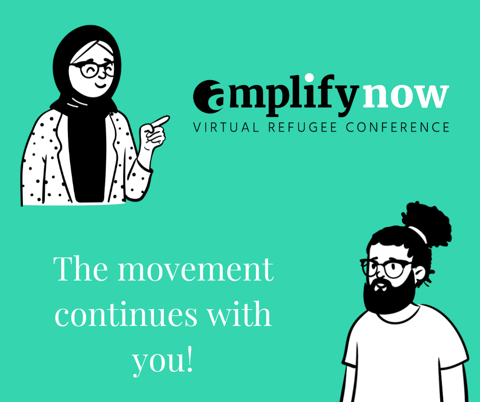 Amplify now virtual refugee conference poster