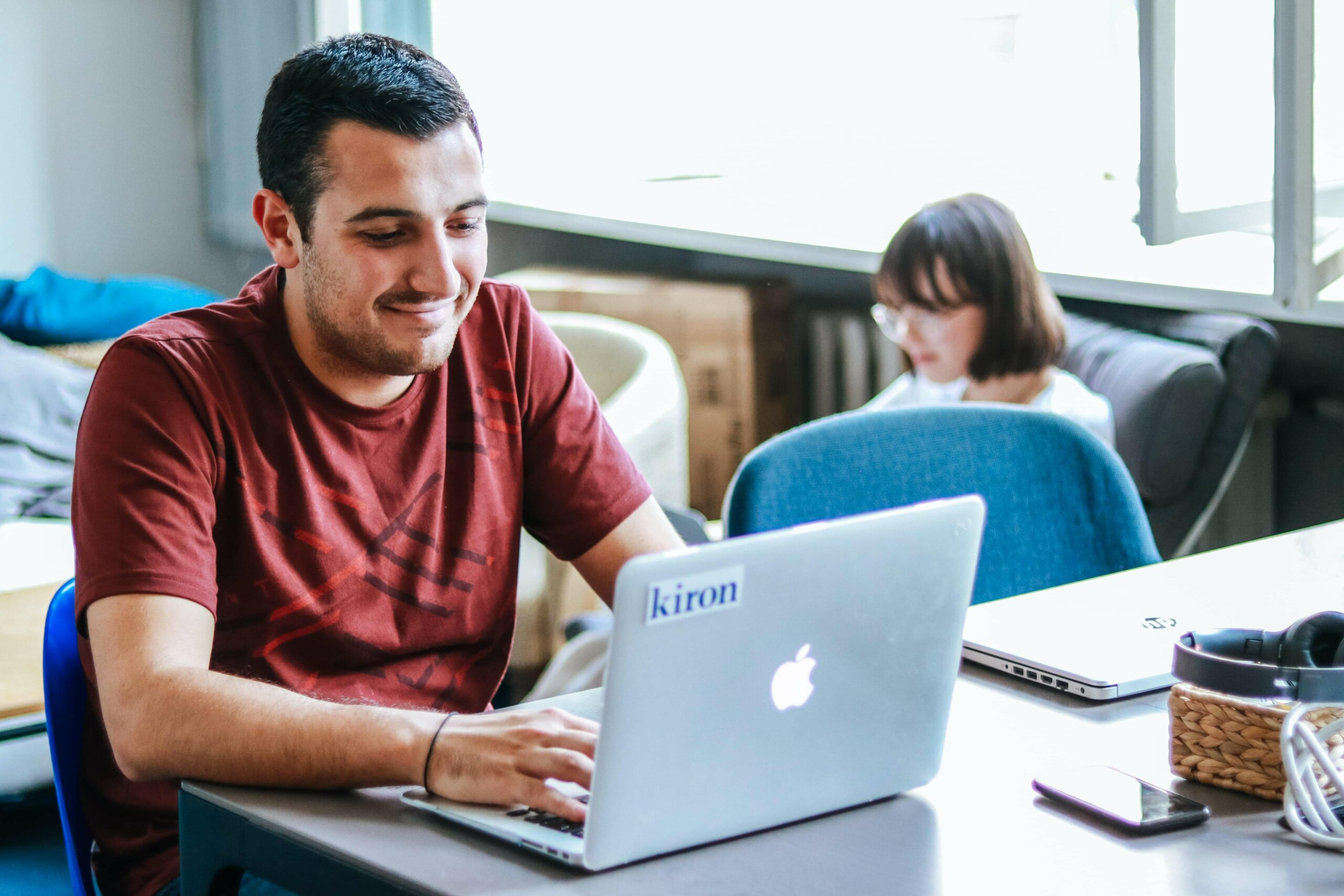 Kiron students Ehab studies with online courses